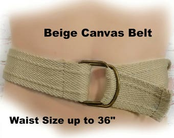 adjustable belt men -Beige Cotton Canvas Belt - adjustable d ring belt - canvas web belt -Webbing belt - 2 wide -size up to 36 inch ,# B 7