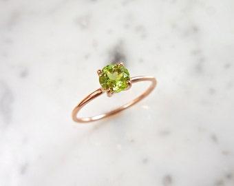 Peridot Ring - Solitaire Peridot, Delicate Peridot Ring, Solitaire, August Birthstone, Birthstone Ring, August Birthday, August Birthstone