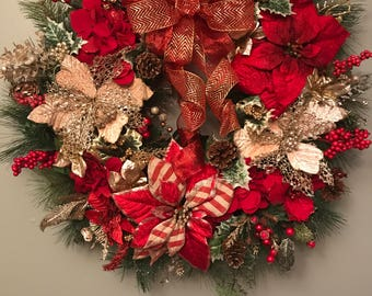 Front Door Wreaths Christmas, Holiday Front Door Wreath, Christmas Wreath with Bow, Decorative Christmas Wreaths, Red and Gold Wreath