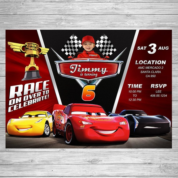 Zoom Away Vehicles Wallpaper Arthouse Cars Motorbike Boys: Disney Cars 3 Birthday Invitation Cars 3 Party Invite Disney