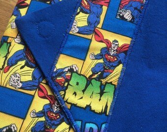 Whap! Bam! Kryptonite Super Man Clutch - Blue - Large Wallet - Traveling Clutch - SUPER FINAL SALE !!!