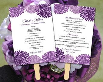 Chrysanthemum Wedding Fan Program Template - Printable Ceremony Program - Plum Purple Wedding Program Favor - Order of Service