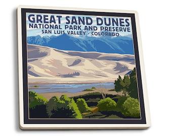 Great Sand Dunes Preserve, CO - LP Artwork (Set of 4 Ceramic Coasters)