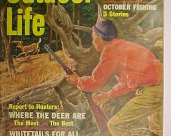 October 1963 Outdoor Life Magazine with the Cover By Walter M. Baumhofer with 164 pages of ads and articles, Man Cave Decor