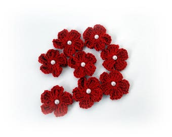 Red Crochet appliques flower Crochet flowers appliques Decoration knit flower craft supplies embellishments scrapbooking wedding decorations