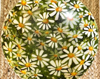 Vintage Flower Paper Mache Bowl with Daisies.
