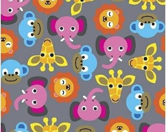 Jungle by French Bull for Windham Fabrics - Full or Half Yard Animal Heads on Gray - Elephant, Lion, Giraffe, Monkey