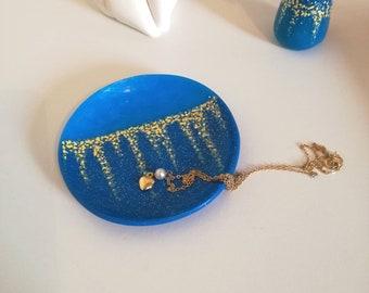 Polymer clay trinket dish, blue ring dish