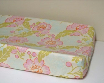 Custom Changing Pad Cover - Contoured - Fresh Poppies by Amy Butler - Ivory, Pink, Aqua, Green