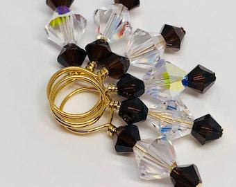 Stitch Markers - Crystal and Mocha Swarovski Crystal