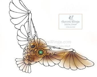 Digital Stamp - Instant Download - Steampunk Owl - Mechanical Wings - Fantasy Line Art for Cards & Crafts by Mitzi Sato-Wiuff