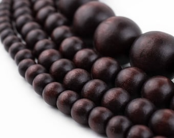 Dark Brown Wood Beads: Natural Round Wooden 8mm 10mm 12mm 20mm Boho Spacer Beads High Quality Jewelry Supplies for Necklace Bracelet Making