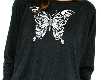 Womens Long Sleeve Sweatshirt - Butterfly - American Apparel Raglan Pullover - Small, Medium, Large