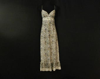 Boho Hippie Paisley Dress Long Maxi Ruffled Blue & White Lace Trim Size 8 SM
