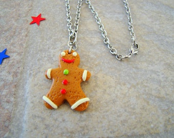 Necklace children p' Gingy - gingerbread man polymer clay fimo - polymer clay necklace