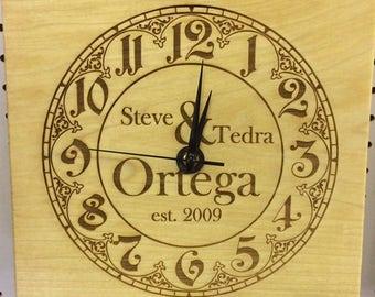 Custom Wood Clock for Wedding Couple