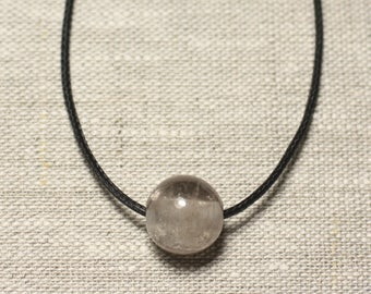Semi precious stone pendant necklace - smoky Quartz ball 14 mm