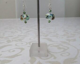 Mottled green/brown Lampwork/crystal earings