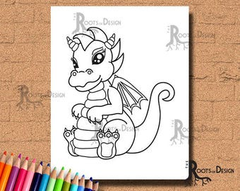 INSTANT DOWNLOAD Coloring Page -  Baby Dragon Art Print, doodle art, printable