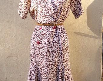 SALE 80s shirt dress / espresso white bubble print / twirly day dress / Liz Claiborne / petite 6 small, bust 38