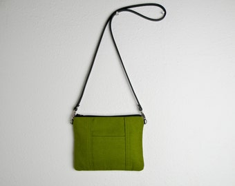 Handmade Tiny Purse in Green - Small Canvas Cross body Bag - Moss Green Purse Handmade with Leather Strap