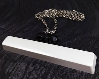 Techie upcycled light grey space bar necklace with large black beads