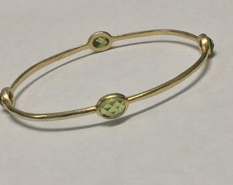 Sterling Silver Gold Toned Green Amethyst Bangle Bracelet