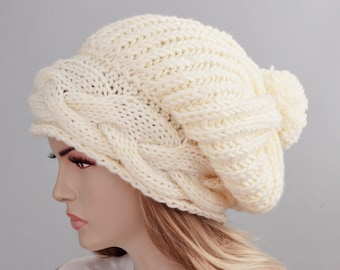 Big Sale -Slouchy beanie with pom pom   oversized beanie hat winter knit hat for woman in creamy ivory   -COLOR OPTION  AVAILABLE