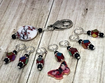 Red Butterfly Stitch Marker Set and Beaded Holder - Snag Free Stitch Markers - Knitting Accessory - Gift for Knitters