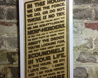 Laser Etched Artwork – In This House We Do Star Wars