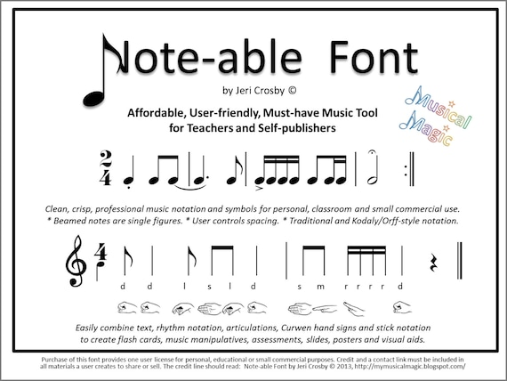 Note Able Font Easily Type Rhythm Notation Articulations