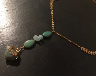 Green agate, amazonite and magnesite Heart Necklace
