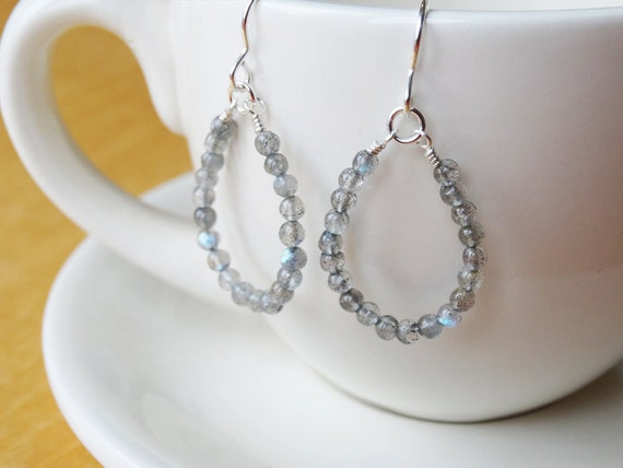 Silver & Labradorite Hoop Earrings - Sterling Silver
