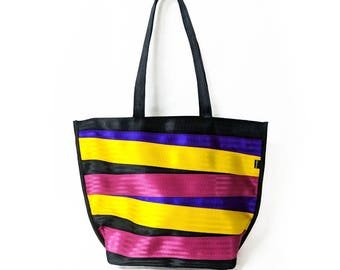 Seatbelt Tote Bag - Multicolor Zippered Tote - Limited Edition