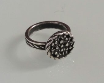 Buckler Shield Ring, Solid Sterling Silver Ring,Oxidized  925, Antique Style,  Ring for women. Gift for Her, Designer Ring