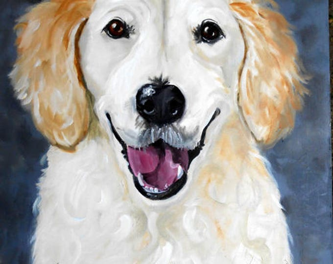 Smiley face! Custom Pet Portrait, Dog Portrait Labrador Retriever Oil painting from Photo, Portrait Custom Dog Lover Gift Idea, Animal Art