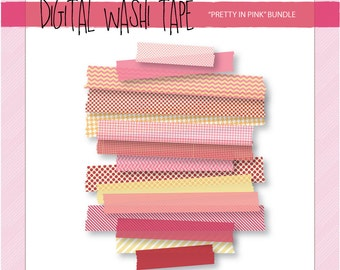 Digital Washi Tape - Pretty in Pink - 15 Assorted Patterns & Sizes