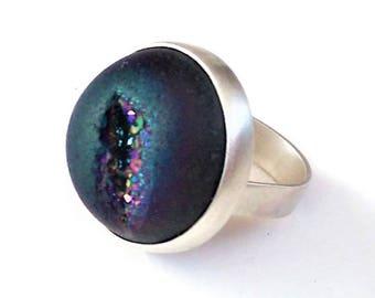 Raw Quartz Ring, Statement Ring, Raw Geode Ring, Drusy Ring, Purple Druzy Ring, Blue Druzy Rings, Druzy Agate Ring, Geode Jewelry, Blue Ring