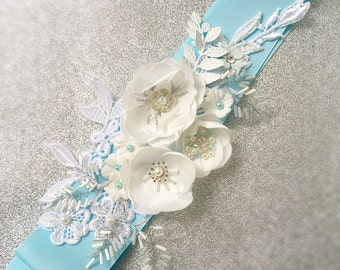 Blue Bridal Sash Ribbon Wedding Belt Appliqué  Sash Floral Belt
