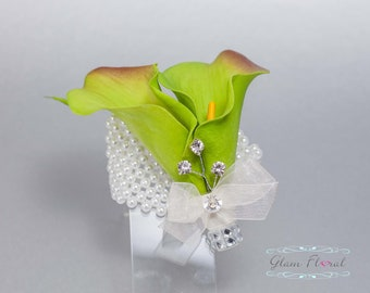 Green Calla Wrist Corsage . Real Touch Flowers, Green Calla Lilies for Weddings, Prom, Maid of Honor, Bridesmaids, Mothers, Keepsake Corsage