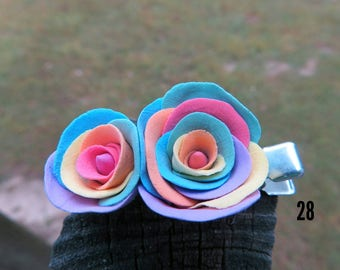 Rainbow roses hairclip
