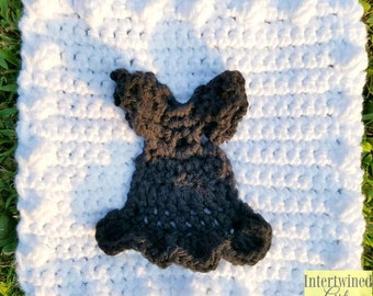 Crochet Little Black Dress Applique Granny Square PATTERN: Like a BOSS Blanket Series pdf instant digital download