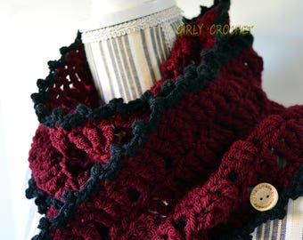 Cowl, doubled round cowl, women's cowl, neck warmer, winter fashion, bordeaux cowl, colorcombo, ready to ship