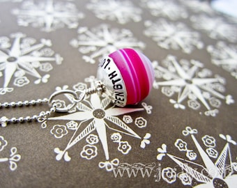 Sterling Silver Inspirational Ball Necklace - Strength, Love, Honor - Bright Hot Pink Pendant - Custom Stamped
