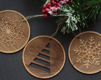 Christmas Ornaments - Wood Tree Ornaments - Unique Christmas Ornament Set - Snowflake Ornaments