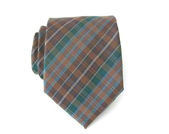 Mens Ties. Necktie. Brown and Green Plaid Mens Tie