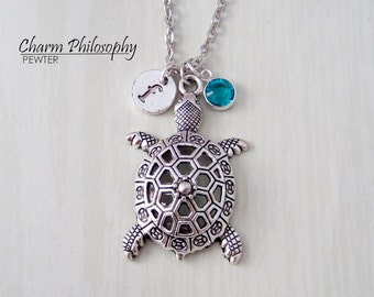 Turtle Necklace or Keychain - Tortoise Jewelry - Antique Silver Pendant - Monogram Personalized Initial and Birthstone