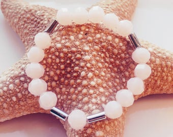 Pink Bracelet with silver spacers