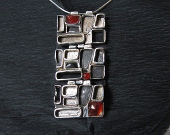 Avant garde long pendant  Silver Semiprecious Multistone necklace Red and Black silver jewelry  Silver Sterling necklace  Handcrafted
