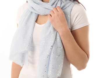 Personalized Silver Foil Print Scarf Evening Wraps Shrugs Formal Evening Wrap Evening Blue Wrap Ladies Wraps Shawls Headwrap UK Sellers Only
